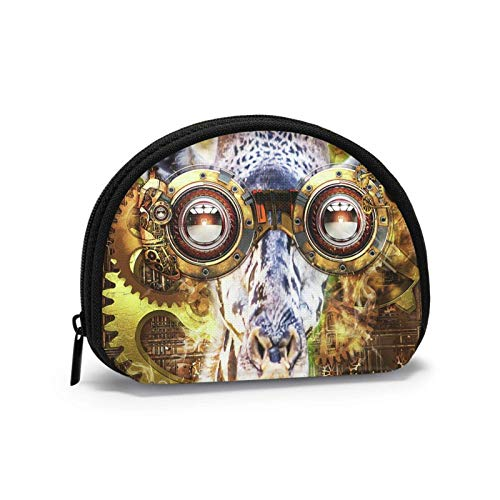 Münzgeldbörse Brille Giraffe Steam Punk Steampunk Kleine Münztasche Leinwand Brieftasche Tragbare Shell Aufbewahrungstasche für Frauen Mädchen