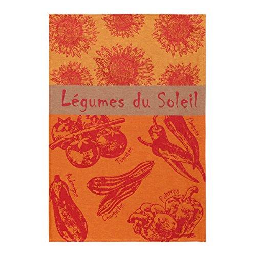 Coucke TNO-220-7089501-000-CKE French Jacquard Serviette de Plat de Cuisine, Produisez des Collection, Coton, Summer Vegetables, 20 x 30-inches, Rouge, 50 x 75 cm