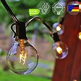EINS Lichterkette Außen, Lichterkette Gluehbirne Aussen [Version mit Gratis Extra Langem Kabel] G40 10.6m Lichterkette Garten, Wasserdicht (25 Birnen,3 Ersatzbirnen, Gelbliches Licht)