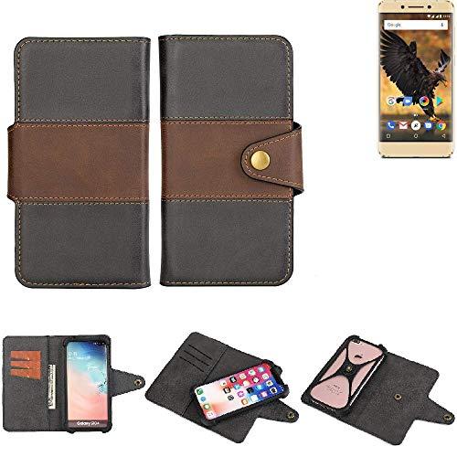 K-S-Trade® Handy-Hülle Schutz-Hülle Bookstyle Wallet-Case Für -Allview P8 Pro- Bumper R&umschutz Schwarz-braun 1x