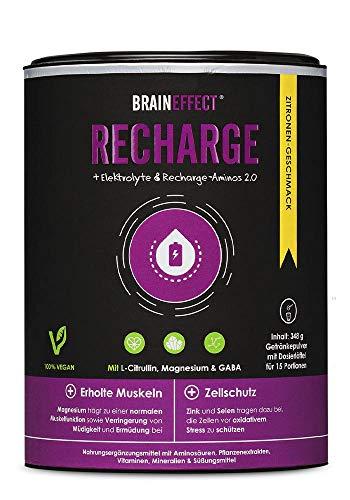 BRAINEFFECT RECHARGE - Post Workout Shake mit L-Citrullin, Magnesium & GABA in 348g Dose - 15g Protein pro Portion - Elektrolyte & Aminosäuren Pulver - Recovery Drink - Zitronengeschmack - Vegan