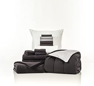OCM 16 Piece Starter Pak Black and Gray Twin XL College Dorm Bedding and Bath Set