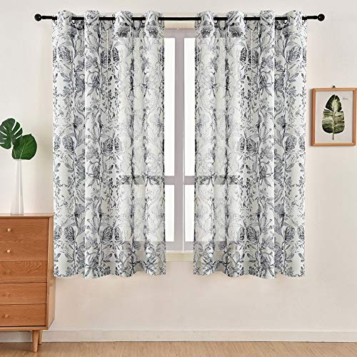 NAPEARL Botanical Printed Semi Sheer Curtains, Linen Texture Sheer Curtains for Living Room, Natural Style Light Filtering Curtains for Privacy, 2 Panels ( Each 52 x 63 Inch, Black )