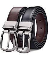 DWTS Men's Belt Genuine Leather Belts For Men Reversible with Rotated Buckle,02blackbrown,Size = 40,suitable for 38 waist