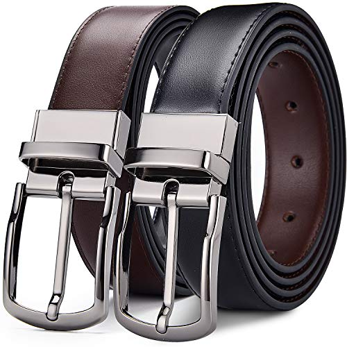 New Leather Ratchet Belt for Men Dress with Click Buckle-Trim to Comfort Fit ..