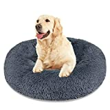 Calming Dog Bed Cat Bed, Washable Round Dog Bed - 23/30/36 inches Anti-Slip Faux Fur Donut Cuddler Cat Bed for Small Medium Large Dogs - Fits up to 25/45/100 lbs - Waterproof Bottom