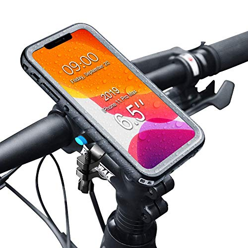 SPORTLINK Soporte Movil Bicicleta para iPhone 11 Pro MAX - Soporte Moto & Funda Impermeable iPhone 11 Pro MAX, Porta Bike Mount para 20-35 mm Manillar (6,5 Pulgadas)