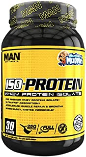 MAN Sports ISO-Protein 100% Pure Whey Protein Isolate Powder, Blueberry Muffin, 2 Pounds