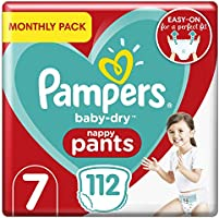 Pampers Size 7 Baby-Dry Nappy Pants, 112 Count, MONTHLY SAVINGS PACK, Easy-Up Pull On Nappies (17+ kg / 37.5 lbs)