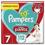 Pampers Baby-Dry Windelhöschen Größe 7 Monatliche Sparung, 112 Windelhöschen, 17 + kg, Monatspackung