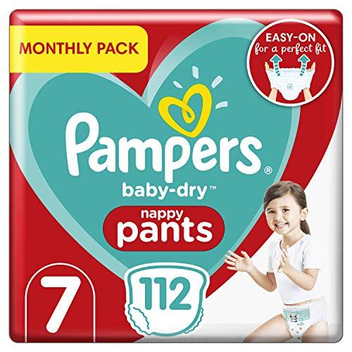 Pampers Baby-Dry - Pantalones de bebé para pañales (tallas 7 meses, 112 pañales, 17 + kg, paquete de ahorro mensual)