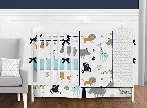 Sweet Jojo Designs Turquoise and Navy Blue Safari Animal Mod Jungle Boy or Girl Full//Queen Kid Childrens Bedding Comforter Set 3 Pieces B073VWWJ45