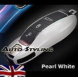 Blanc brillant Housse de clé à distance pour Porsche Coque boîtier côté Painted Trim Boxster Carrera Cayenne Cayman Macan...