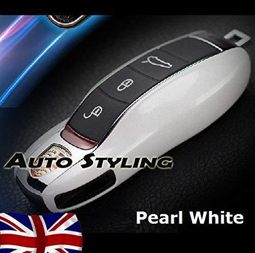 Glänzende weiße Schlüsselhülle für Porsche Fernbedienung Gehäuse Gehäuse Seitenlackierung Boxster Carrera Cayenne Cayman Macan Panamera Spyder 981 718 991 918 911 GTS S PDK D TD Turbo TDI GT4 4S V6 V8