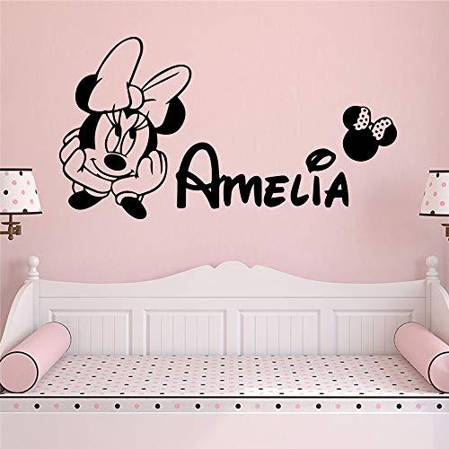 yaonuli aangepaste naam schattige muis muursticker kinderkamer decoratie vinyl sticker slaapkamer decoratie sticker