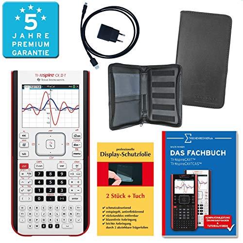 TI-Nspire CX II-T PREMIUMpaket + Erweiterte Garantie + Schutztasche + Fachbuch + Displayschutzfolie + Ladegerät : calcumio Artikel Set