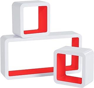 WOLTU Pływające półki czerwona kostka pływające półki ścienne zestaw 3 organizerów pływająca półka ścienna