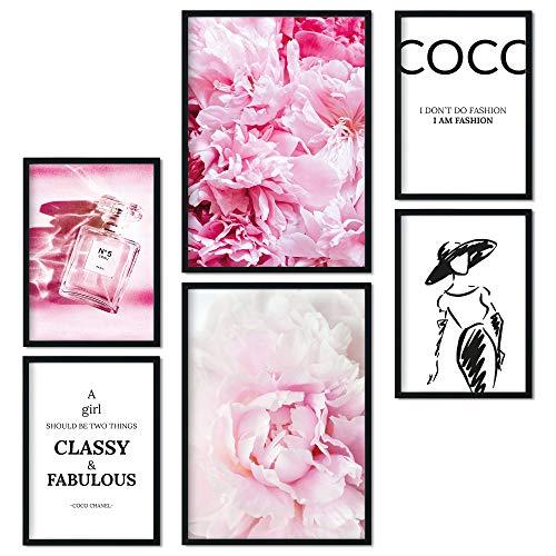 bilderreich Premium Poster Set Bilder Deko Wohnzimmer Modern im Coco Fashion Design Schlafzimmer Bild für Ihre Wand   ohne Rahmen   2 x DIN A3 + 4 x DIN A4 - ca. 30x42 & 21x30   Coco Pfingstrosen