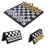 LAANCOO Juego de ajedrez, Juego de ajedrez magnético de Viaje, Juego de Piezas de ajedrez magnético con Tablero de Almacenamiento Plegable portátil de ajedrez, Juego de ajedrez para Adultos y niños