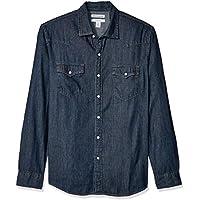Amazon Essentials - Camisa tejana de manga larga y corte recto para hombre, Rinsed, US S (EU S)