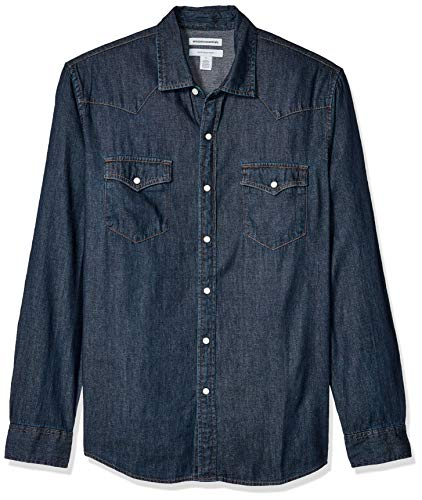Amazon Essentials Men's Regular-Fit Long-Sleeve Denim Shirt, Rinsed, XX-Large