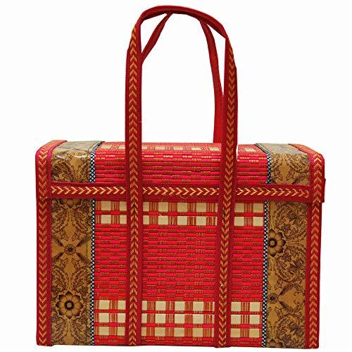 KGCA Bambus Bambuskorb Geschenkkorb Einkaufskorb Krabbenkorb Eierverpackung 36 * 18 * 25Cm