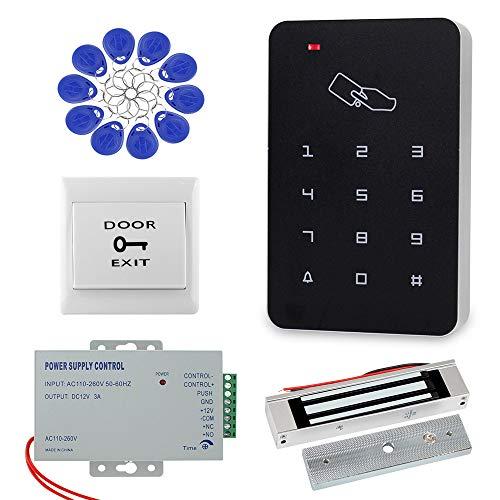 Dongyang Kit de Sistema de Control de Acceso de Puerta con Teclado RFID 180KG Cerradura Magnética + Fuente de Alimentación + 10pcs de llaveros Juego Completo