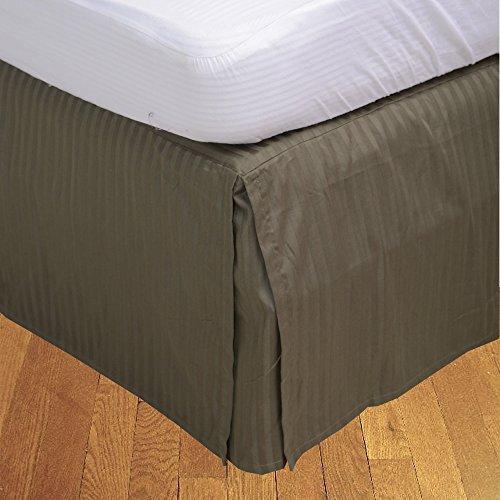 BudgetLinen Box Pleated Bed Skirt (Valance Sheet)(Musgo Raya,Super King Size 180x200 cm (6' 6'' x 6'), Drop Length 25cm) 100% de algodón Egipcio 300 número de Hilos