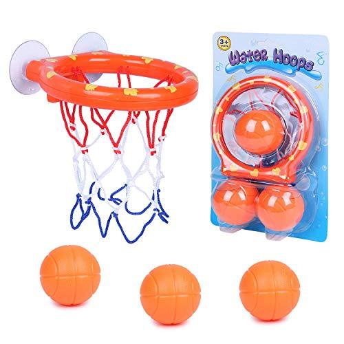 SIMUER Canasta Baloncesto Infantil Bañera,Juguetes de Baño,Ganasta de Baloncesto Pequeña de Plástico,Divertido Juego de Baloncesto para Niños y Niñas Pequeños con 3 Pelotas