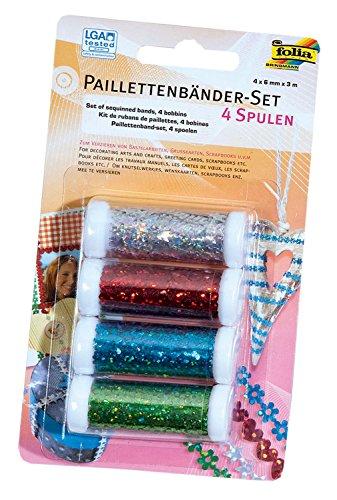 folia 13703 - Paillettenbänder Set, 4 Spulen in 4 verschiedenen Farben, je 6 mm x 3 m