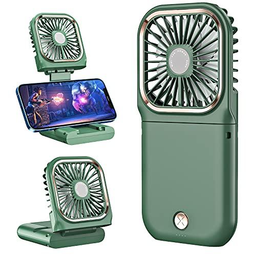 Portable Mini Fan, Digi Marker 5 in 1(Phone holder,Power Bank,Neck Fan,Handheld Fan,Table Fan) Foldable USB Rechargeable Mini Fan ,3000 mAh Power Bank 3 Speeds Hanging Neck Cooling Fan