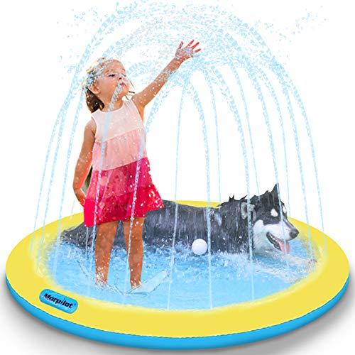 morpilot Alfombrilla gruesa para salpicaduras para perros y niños, piscina de 51 pulgadas con aspersor y altura de agua ajustable,...