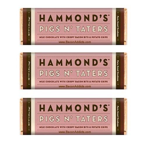 Hammond's Pigs N' Taters Milk Chocolate Bar (3 Pack) Crispy Bacon Bits, Potato Chips & Milk Chocolate - Three Candy Bars