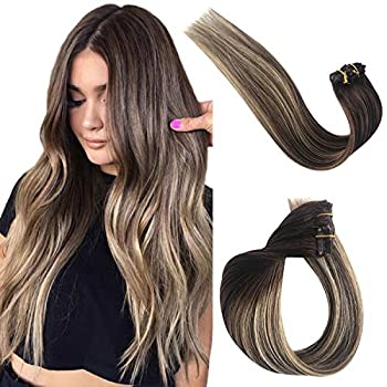 Clip in Natural Human Hair Extensions for Women Double Weft Clip on Real Remy Hair Extensions Ombre Balayage Honey Blonde Highlights Human Hair Extensions Full Head Straight 70G 7pcs 16 Clips 22 Inch