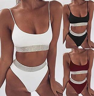 BEESCLOVER Sexy Sequin Solid High Waist Bikini Set Women Summer Beach Bathing Suit 2018 Black White Swimsuit Female Cute Swimwear Monokini Black L