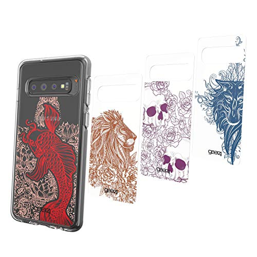 Preisvergleich Produktbild Gear4 Chelsea Pack of 4 Swappable Panels / Packung mit 4 Austauschbar Panels Kompatibel mit Crystal Palace und Piccadilly kompatibel mit Samsung Galaxy S10 - Tattoo Art