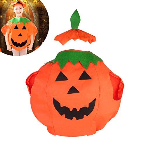 Kinder Kinder Kürbis Halloween Kostüm Halloween Laterne Gesicht Shirt Kleidung mit Beanie Hut (Orange)
