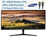 """Newest Samsung 34"""" Ultrawide Gaming Monitor WQHD (3440 x 1440) PC Computer for Business Student, VESA Mounting, FreeSync, Split Screen, 75 Hz, 4ms, 21:9 Aspect Ratio, 178°, w/HubXcel HDMI Cable"""