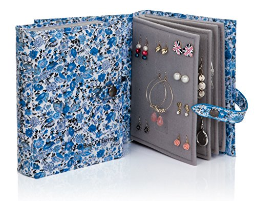 The Little Book of Earrings - Blue Floral earring book holds 48 pairs of earrings on 4 pages by Little Book of Earrings