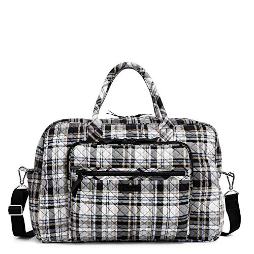 Vera Bradley Signature Cotton Weekender Travel Bag, Cozy Plaid Neutral