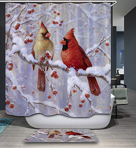 GoJeek Red Cardinal Shower Curtain, Christmas Winter Showy Bird Themd Bathroom Decor