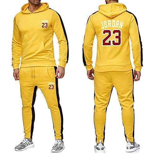 XIKONG Männer Basketball Trainingsanzug Set Bulls Jordan # 23, Pullover Sweatshirt Hoodie Sportswear Joggers Hosen Lose Hoodies Jacke Yellow-S