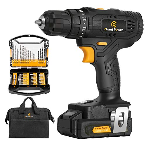 Cordless Drill 20V Max LithiumIon Drill Driver Kit with 2 Variable Speeds 41pcs Accessories 151 Torque Setting Builtin LED for Drilling Wood Soft Metal Plastic C P CHANTPOWER