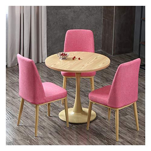 Büro- und Balkontische Tisch und Stühle Schlafzimmer Küche Hotel Restaurant Wohnzimmer 1 Tisch und 3 lange Stühle aus Leinen Baumwolle Tisch rund Stuhl 60 cm Multifunktional Tisch und Stühle Pink