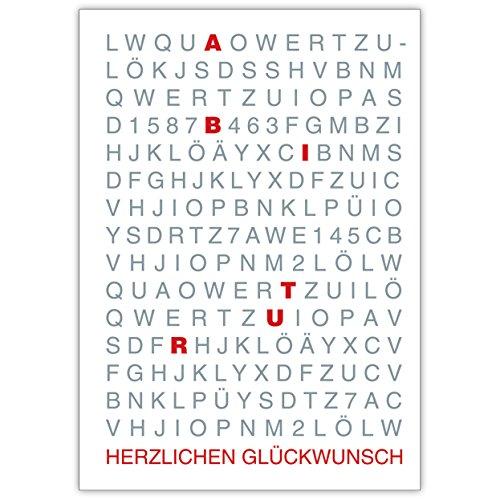 1 Grusskarte: Herzlichen Glückwunsch zum Abitur wird groß geschrieben (rot) • schöne Grußkarte mit Umschlag zum Gratulieren, schenken