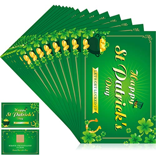 St. Patrick's Day Fortune Cards, Year of The Lucky Shamrock Party Scratch Off Fortune Games, Laminated Fortune Teller Cards (Style 1, 24 Pieces)