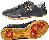 ZLJIA Zapatillas Kung Fu Zapatos Artes Marciales Adultos Niños Zapatillas Lona Clásicas Zapatillas Tai-Chi para Caminar Fitness,Black-43EU