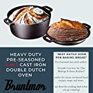 Bruntmor Heavy Duty Pre-Seasoned 2 In 1 Cast Iron Pan 5 Quart Double Dutch Oven Set and Domed 10 inch 1.6 Quart Skillet Lid, Open Fire Stovetop Camping Dutch Oven, Non-Stick #3
