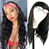 Aisaide Headband Wigs for Black Women Long Wavy Body Wave Kinky Curly Wigs for Black Women Scarf Wigs Long Black Body Loose Wave Curly Brunette Wig with Headband Attached None Lace Front Wigs Black Hair Headbands for Wig 24 Inch Wig Head Natural Cheap Glueless Wigs