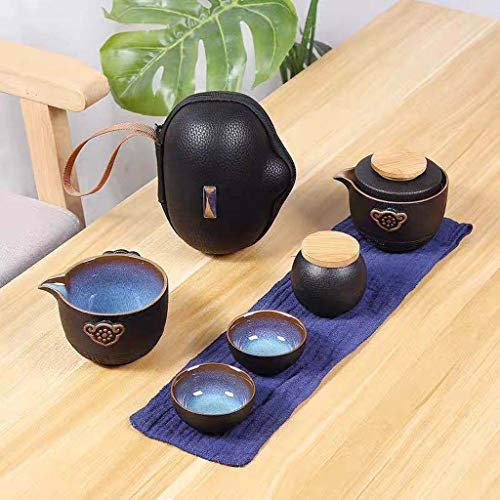 YWSZJ Juego de té de Viaje de té Chino Kung Fu Teaset Cerámica Tetera portátil Tetera de Porcelana Gaiwan Tazas de té de Ceremonia de té